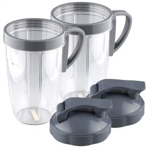 2 Pack NutriBullet 24 oz Tall Cup with Handled Lip Ring and Flip To-Go Lids