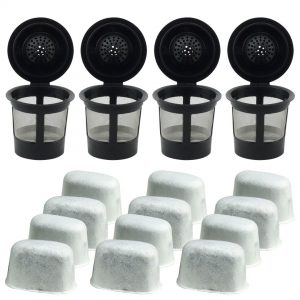 4 Keurig Reusable Single K-Cup Solo Coffee Filter Pods and 12 Charcoal Water Filter Cartridges