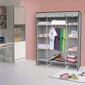 Felji 53-Inch Portable Closet Storage Organizer Wardrobe Clothes Rack With Shelves Grey