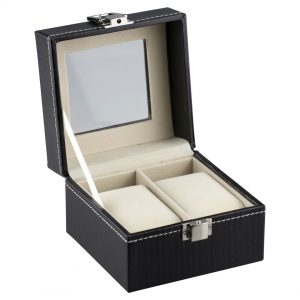 Felji 2 Slot Black Unisex Watch Box Leather Display Case Organizer