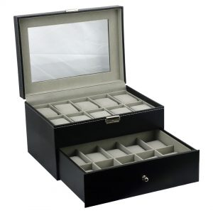 Felji 20-Slot Mens Watch Box Leather Display Case Organizer Black