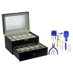 Felji 20-Slot Mens Watch Box Leather Display Case Organizer Black and 16-Piece Watch Tool Kit Combo