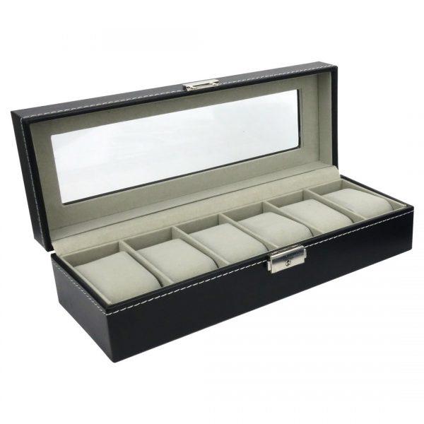 Felji Mens Watch Box 6-Slot Black Leather Display Jewelry Organizer