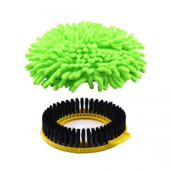 Felji Stainless Steel Deluxe Rolling Spin Mop with 2 Microfiber Mop Heads, Lime Green