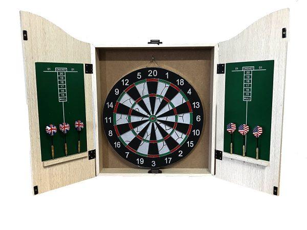 Felji Game Room Dartboard Cabinet Set with 6 28-Gram Tungsten Darts