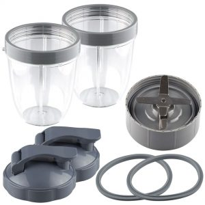 NutriBullet Extractor Blade + 2 18 oz Short Cups with Lip Ring, Flip To-Go Lids and 2 Gaskets