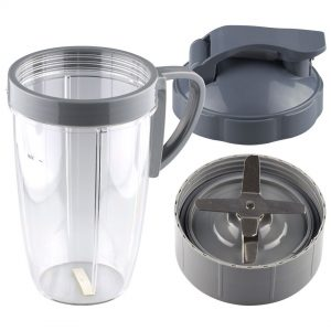 NutriBullet Extractor Blade + 24 oz Tall Cup with Handled Lip Ring and Flip To-Go Lid