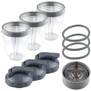 NutriBullet Extractor Blade + 3 18 oz Short Cups with Lip Ring, Flip To-Go Lids and 3 Gaskets