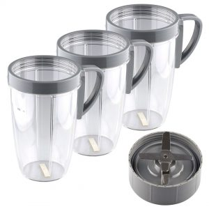 Extractor Blade + 3 Pack 24 oz Tall Cup with Handled Lip Ring Replacement Parts Compatible with NutriBullet 600W 900W Blenders NB-101B NB-101S NB-201