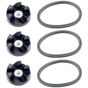 Felji 3 Pack Rubber Blade Gears + 3 Gaskets Combo for NutriBullet 600W 900W NB-101 Blenders