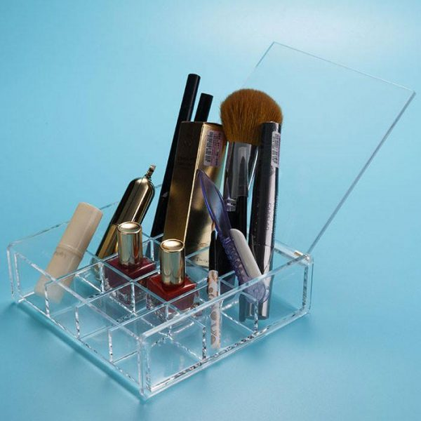Felji Acrylic Lipstick and Nail Polish Organizer with Lid 1026