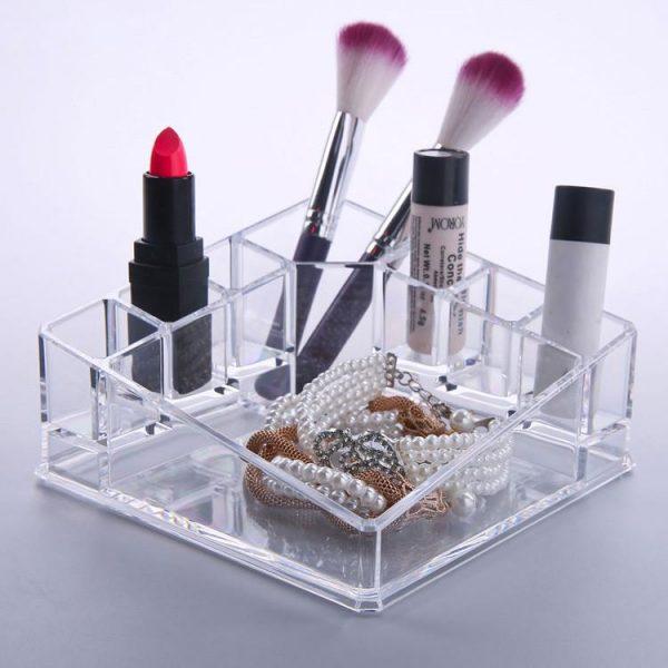 Felji Acrylic Diamond Shaped Makeup Organizer with Tray 1119