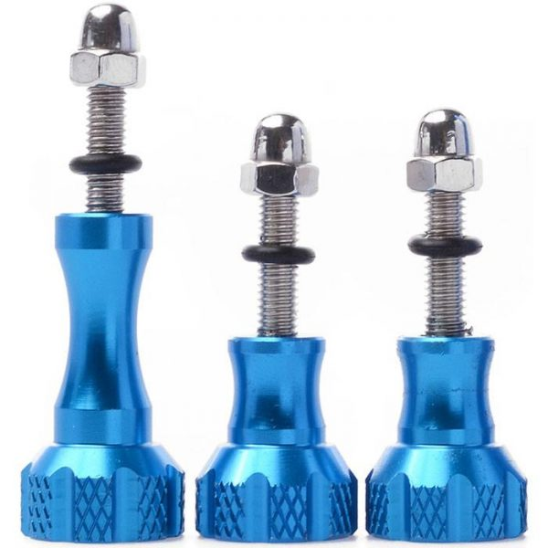 Felji Blue Aluminum Stainless Thumb Knob Bolt Nut Screw Set For GoPro HD Hero 2/3/4