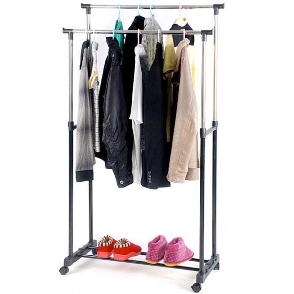 Felji Double Heavy Duty Rail Adjustable Portable Clothes Hanger Rolling Garment Rack