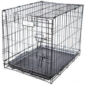 "Felji 1 Door Black 24 Pet Folding Suitcase Dog Cat Crate Cage Kennel Pen w/ ABS Tray"""