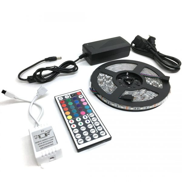 Felji 5m 5050 SMD LED RGB 300 Waterproof Strip Lights + 44 Key IR Remote + 12V 5A power