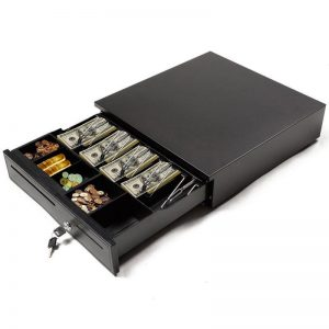 Manual Cash Drawer Box Works Compatible Epson/Star POS Printers w/ 5 Bill & 5 Coin Tray