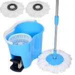 Felji Microfiber Spin Mop Easy Floor Mop with Bucket and 2 Mop Heads 360 Rotating Head, Blue