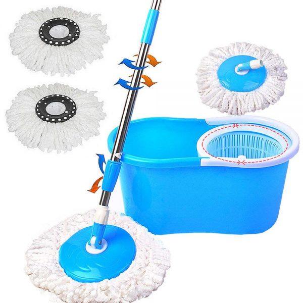 Felji Microfiber Spin Mop Easy Floor Mop with Bucket & 2 Heads (No Pedal)