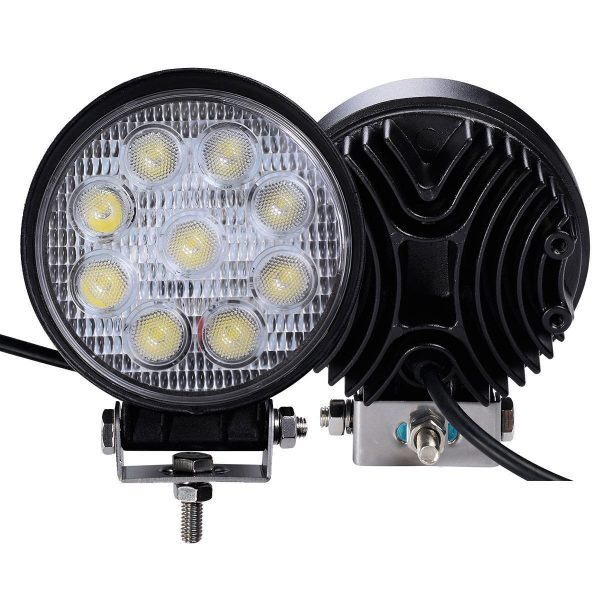 Felji 2 pcs 27W Round Flood Work Light Bar Fog Driving Lamp Truck Tractor SUV 9 LED