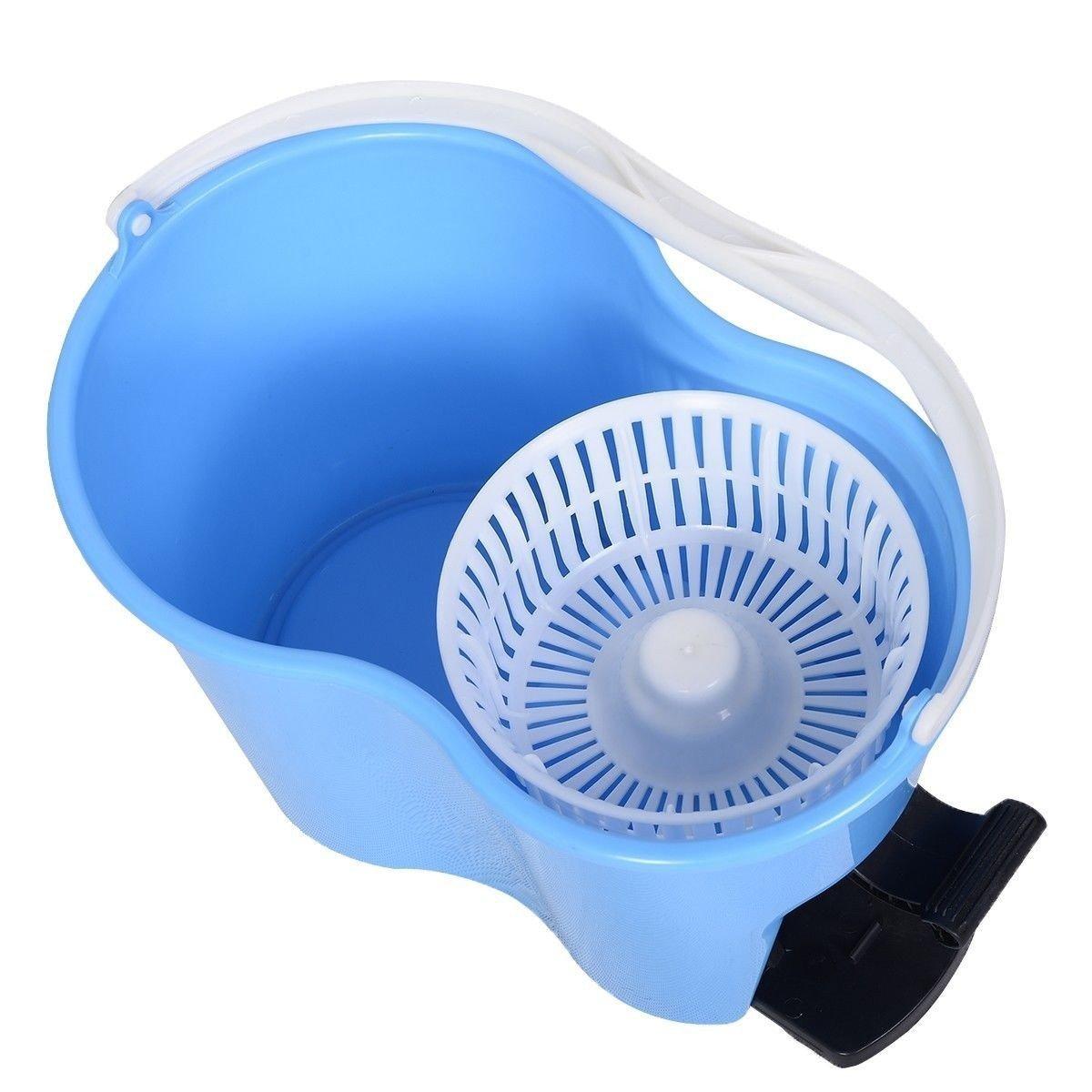 Felji Microfiber Spin Mop Easy Floor Bucket And Heads Rotating Head Blue